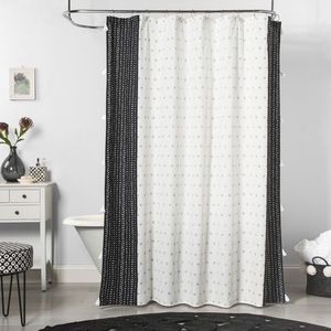 Floral Dots Fabric Shower Curtain
